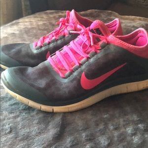 Pink and Grey Nike Free 3.0 running shoes